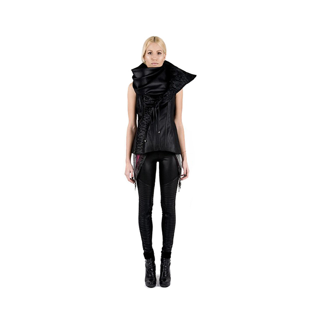 Black leggings and corset vest with cascade collar by Iva Sokovic