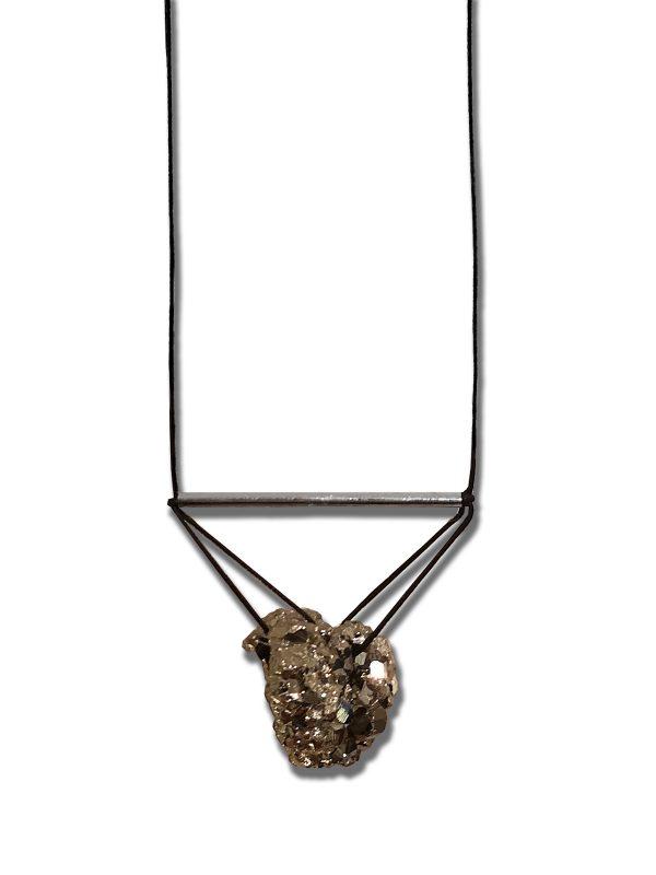 Iva Sokovic Levitating Pyrite Cluster Necklace Closeup