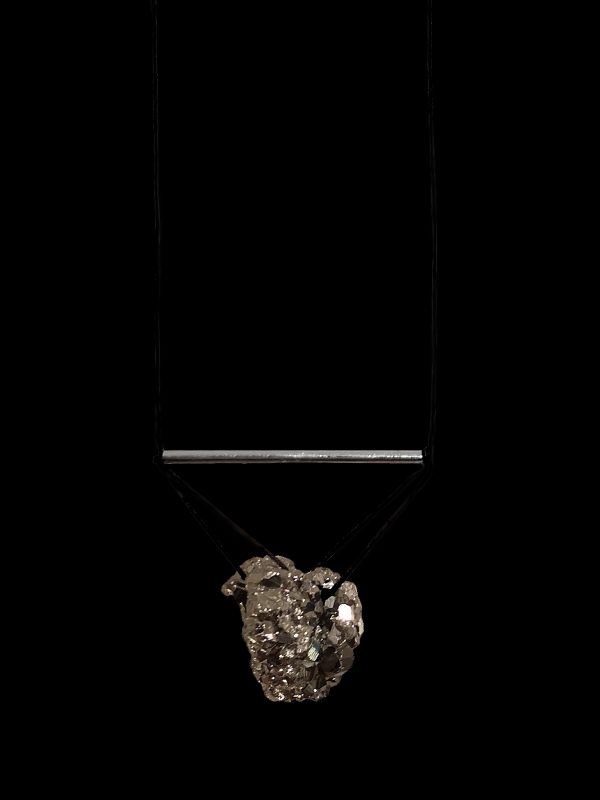 Iva Sokovic Levitating Pyrite Cluster Necklace Closeup Black Beackground